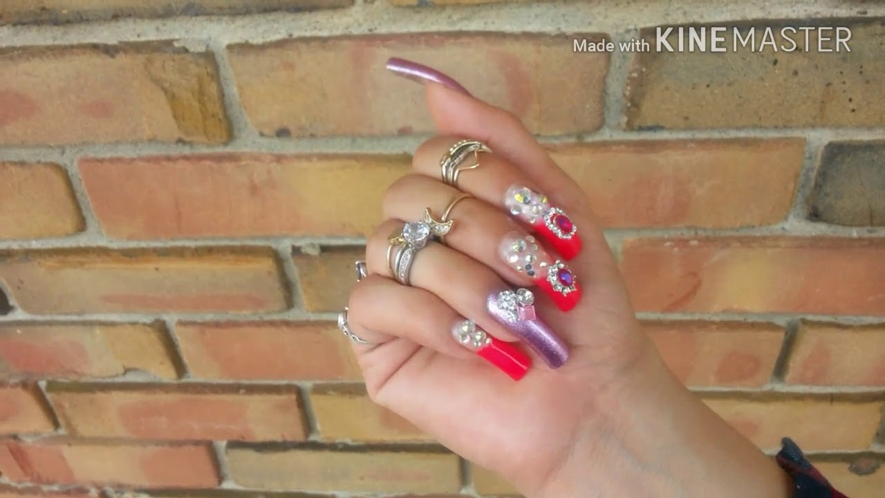 Showing my long natural nails - YouTube