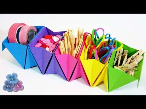 Origami facil organizador de escritorio de papel como - Organizador de papeles ...