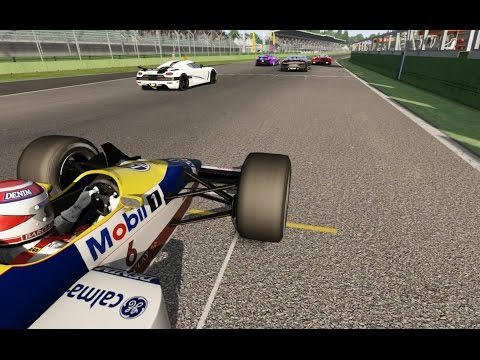 Battle Onboard F1 Williams FW11B vs Supercars at Imola