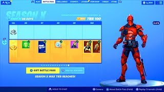 SEASON 10 BATTLE PASS All 100 TIERS UNLOCKED..! (FREE OG Emote) Fortnite Battle Royale