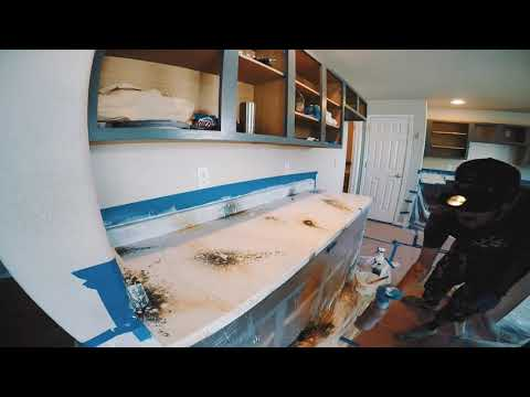 Countertop epoxy pour time lapse