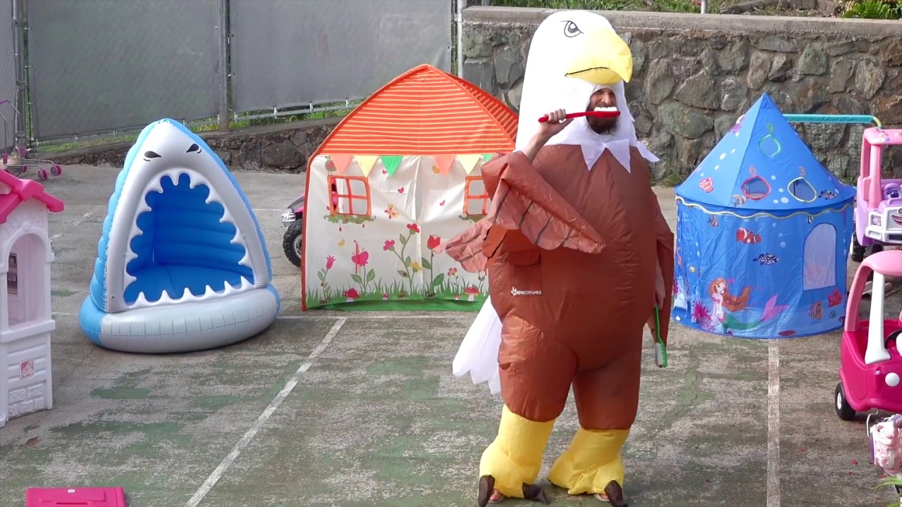 This is the way we Brush your teeth Song #2 with inflatable Eagle