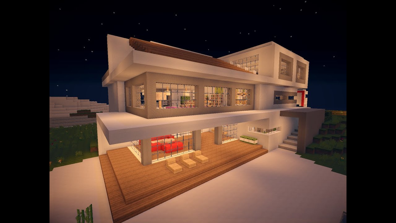 Minecraft modern house 7 modernes haus hd youtube for Craftingpat modernes redstone haus