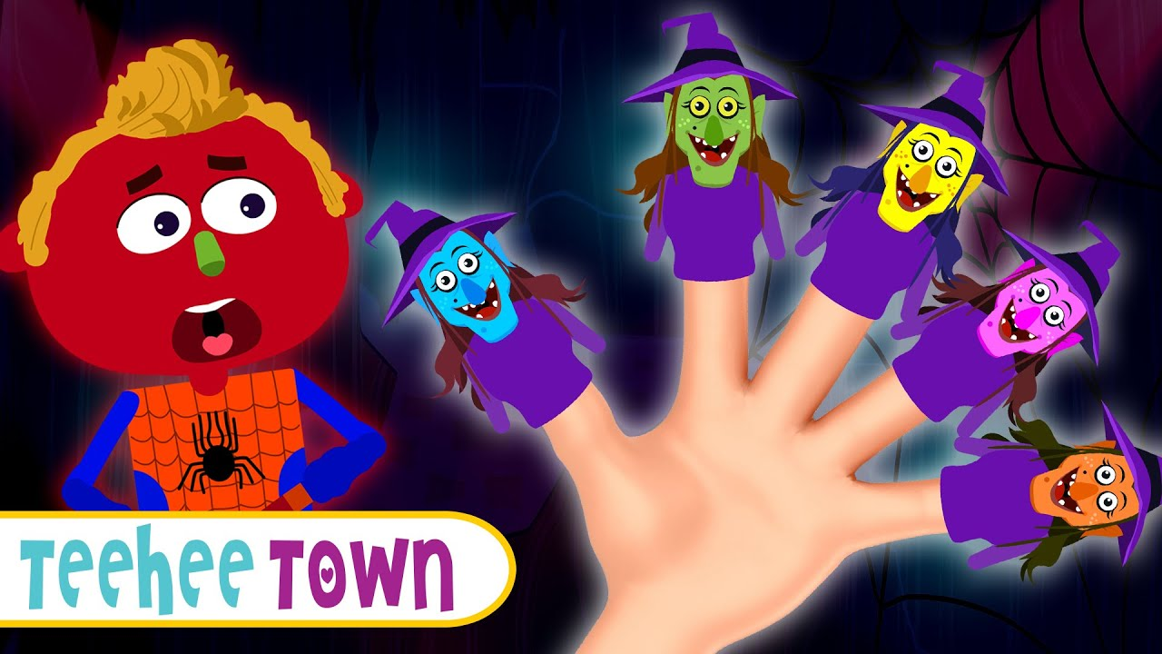 Spooky Witch Finger Family   Fun Scary Rhymes For Kids By Teehee Town