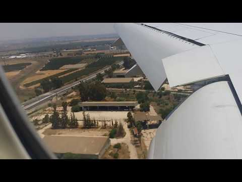 Breathtaking landing in Tel-Aviv Ben-Gurion Airport in Israel