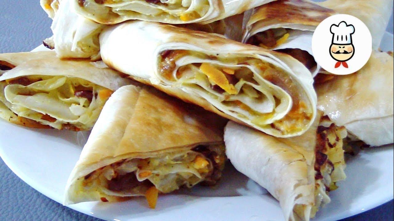 Гости будут в шоке! Улетная Хрустящая закуска из лаваша / Cabbage and mushrooms in pita bread