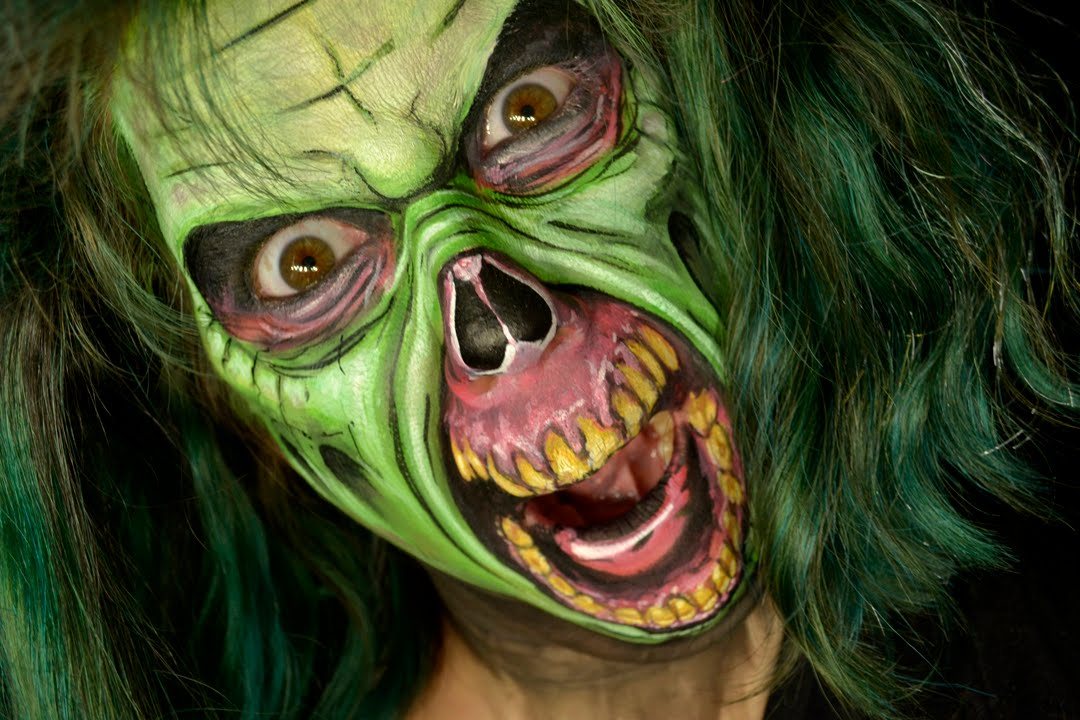 Green Zombie Face Paint Tutorial