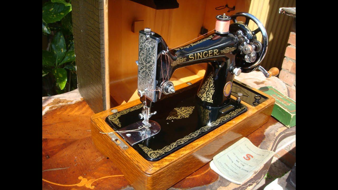 Old Vintage Antique Hand Crank Singer Sewing Machine Model ...