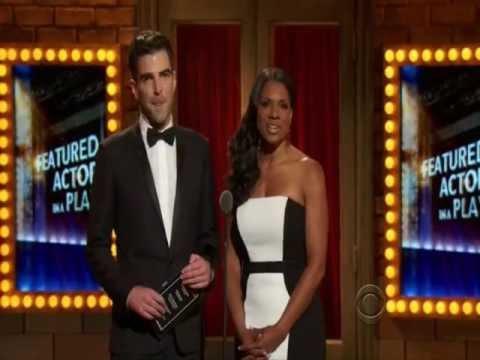Zachary Quinto and Audra McDonald presenting the Tony award to Courtney B. Vance