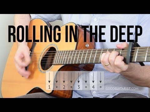 """Rolling in the Deep"" Guitar Tutorial - Adele (Simple Chords & Strumming)"