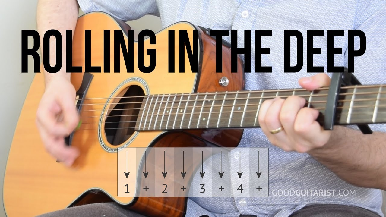 Rolling In The Deep Guitar Tutorial Adele Simple Chords