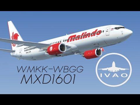 Malindo Airlines MXD1601   WBGG-WMKK (Kuching-Sepang)   IVAO