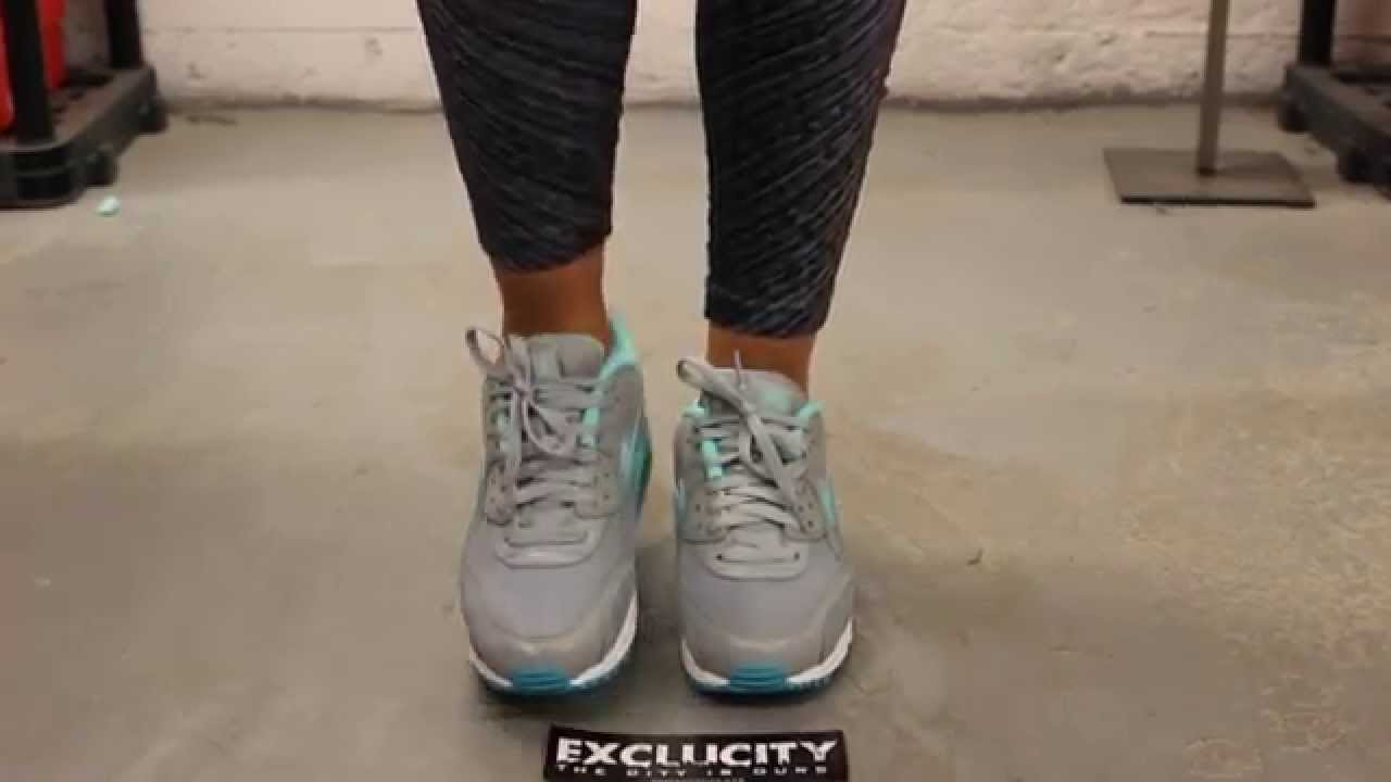 san francisco 5df1d 4203e ... sale nike womans air max 90 essential cool grey hyper turquoise on feet  video at exclucity