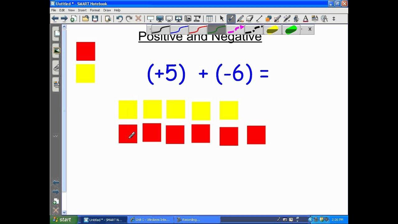 Adding Integers Using Tiles Youtube Addition of integers using algebra tiles