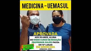 AOS 39 ANOS, ALUNA DO R1000 CURSO DE REDAÇÃO PROFESSOR JULIÃO PASSA EM MEDICINA