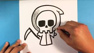 How to Draw Cute Grim Reaper - Halloween Drawings