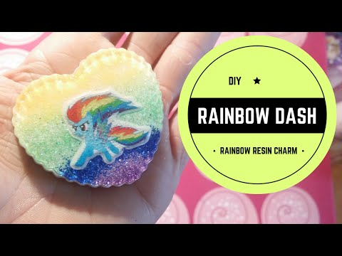 DIY -  Rainbow Dash -  Rainbow resin charms