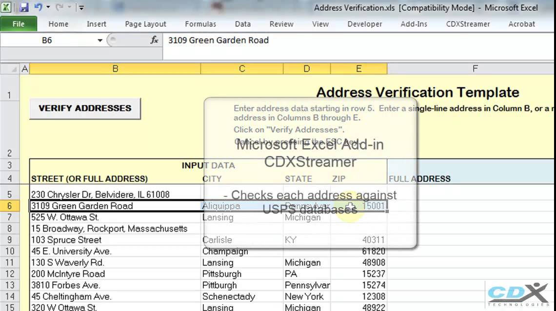 Verify Addresses in an Excel Template - YouTube