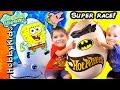 Giant Sponge Bob Hot Wheels POOL CRASH + Super Heroes Dual RACE Off HobbyKidsVids