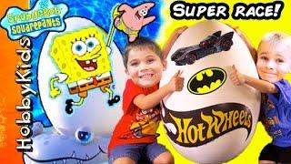 Giant Sponge Bob Hot Wheels CRASH + Super Heroes Dual RACE Off HobbyKidsVids