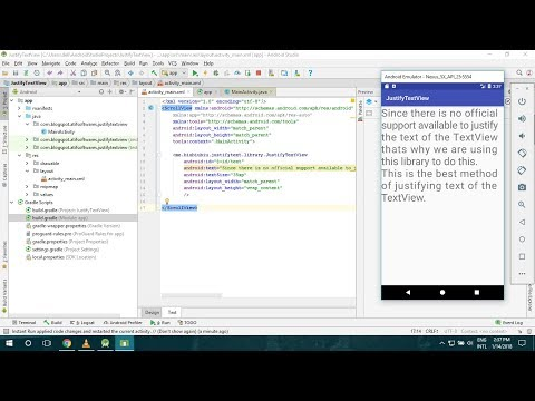 Justify text of TextView in android studio