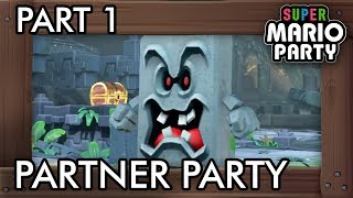Super Mario Party: Partner Party Part 1 - Domino Ruins Treasure Hunt (4 Players Gameplay)