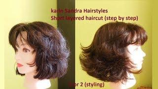 Haircut tutorial : Short layered Bob haircut with Bangs for women y girls | Short haircut tutorial