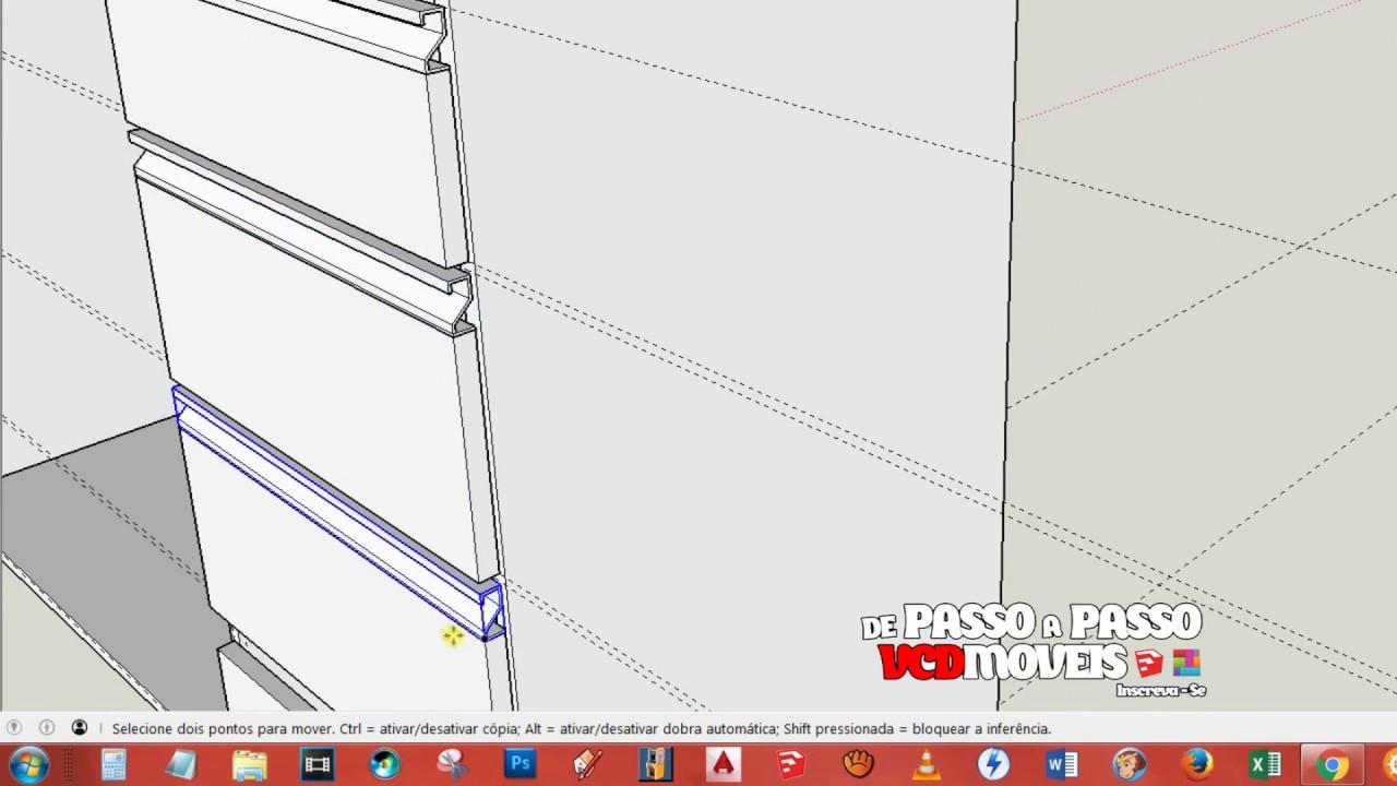 SketchUp  Gabinetes de pia  YouTube -> Pia Para Banheiro Sketchup