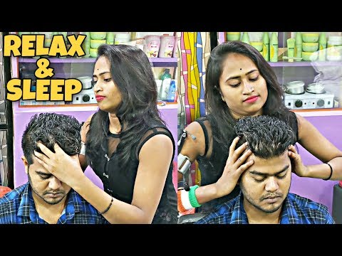 Perfect Relaxing Head & Shoulder Massage By Barber Girl Pakhi | Indian ASMR