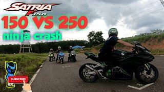 Satria Fu Fi 150 VS 250 Ninja 250fi crash kamera blakang R25 CBR 250rr Mio balap