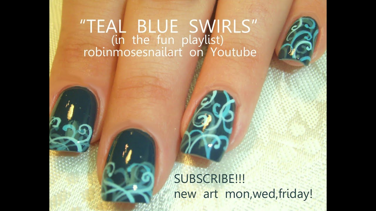 Easy Gradient Filigree Nail Art on Teal Nails! Design Tutorial - Easy Gradient Filigree Nail Art On Teal Nails! Design Tutorial