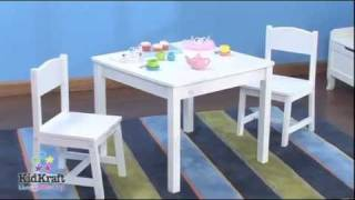 Kidkraft Aspen Table & 2 Chair Set - White 21201 - Wooden Kids Furniture