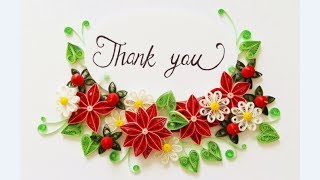 Paper Quilling Flower For beginner Learning Video 26// Paper Flower Card // Thank you card