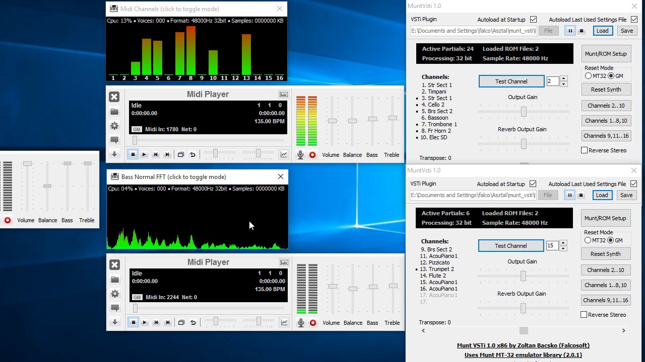 Midi Player + Munt MT-32 emulator VSTi GM Test (obsolete)