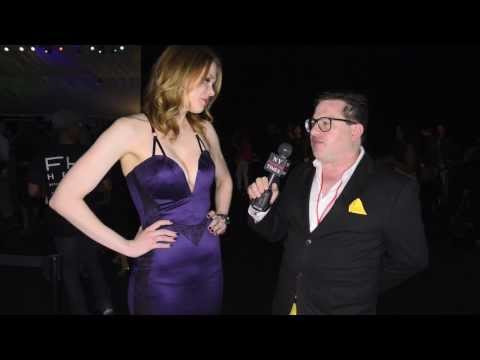 Stunning Maitlin Ward interviewed after the Michael Costello Style FW Runway Show