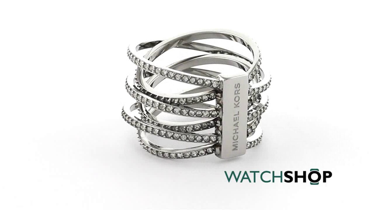 be506d84cc12 Michael Kors Jewellery Ladies' PVD Silver Plated Statement Crossover Ring  Size P (MKJ4423040508)