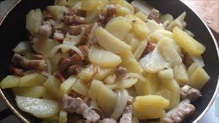 Кулинарный рецепт Второе Жареная картошка с грудинкой