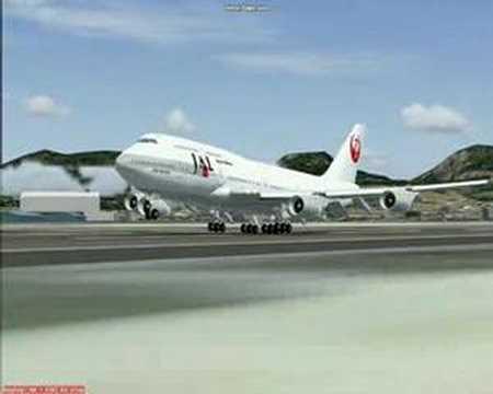 747-400 JAL landing in Honolulu