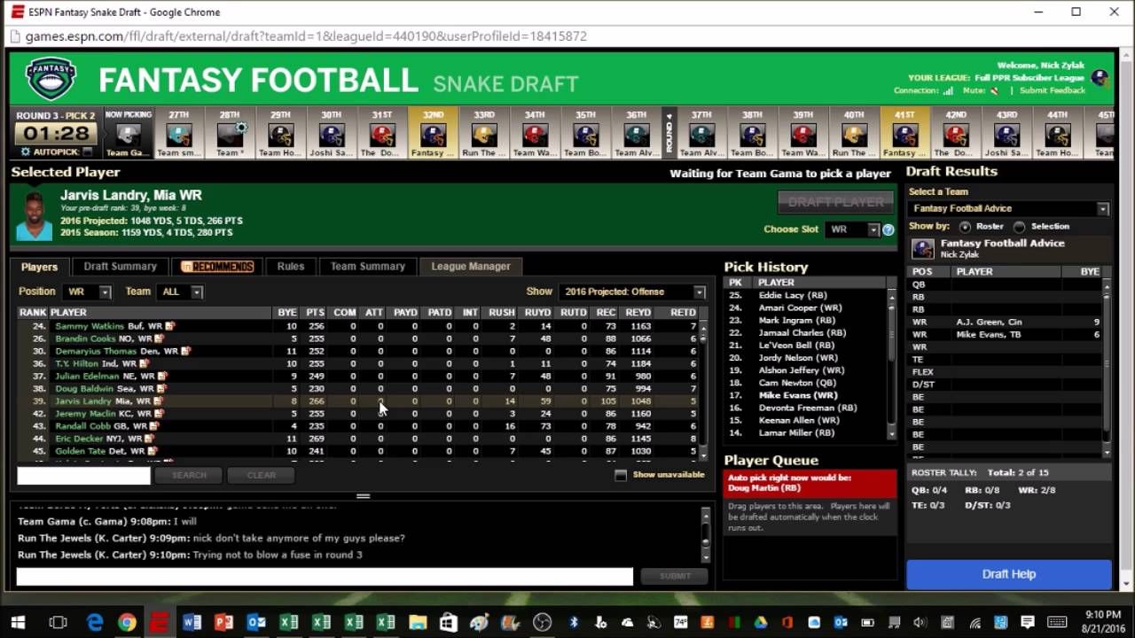 Live 2016 Fantasy Football 12 Team Ppr Draft Youtube