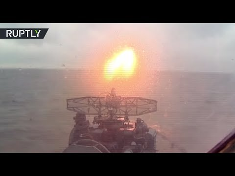 RAW: Russian frigate 'Admiral Makarov' conducts missile drills in Baltic Sea