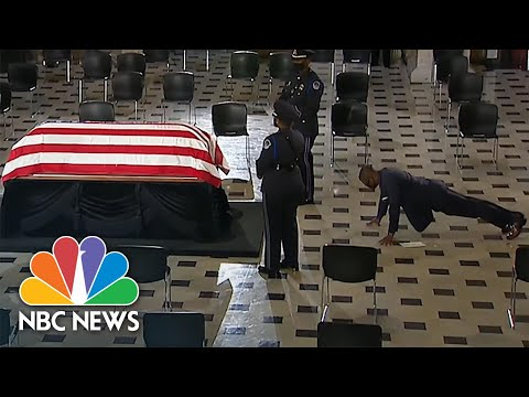 Watch: Ruth Bader Ginsburg's Personal Trainer Does Push-Ups In Front Of Casket | NBC News NOW