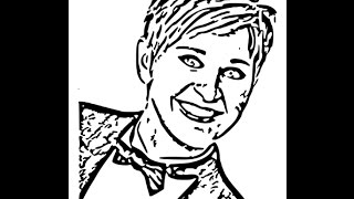 How to draw Ellen Degeneres face sketch drawing step by step