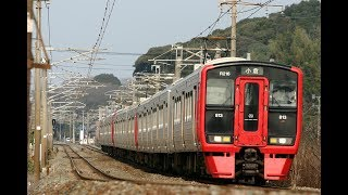 JR九州:海老津駅 813系電車発着・通過シーン