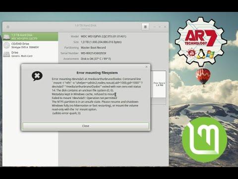 Error Mounting Filesystem - Linux Mint