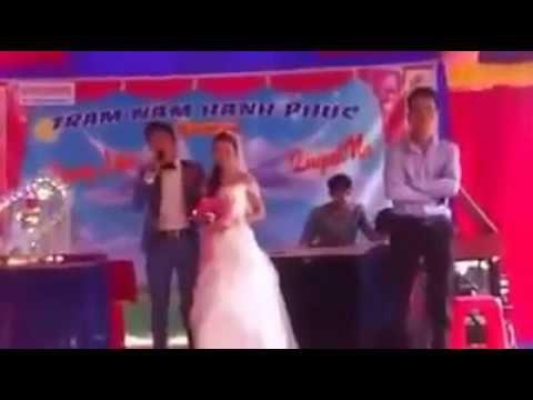nụ hôn gió - chú rể TRUNG LIÊN hát tặng cô dâu QUỲNH NA ngay cuoi thật cảm động