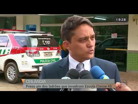Preso um dos ladrões que invadiram escola | Jornal SBT Brasília 09/08/2018