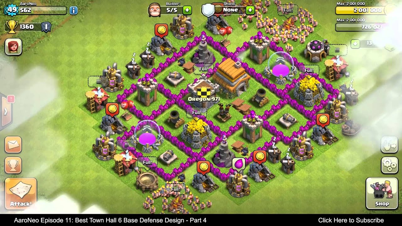 BEST Town Hall Level 6 (TH6) Base Defense Design Layout ...