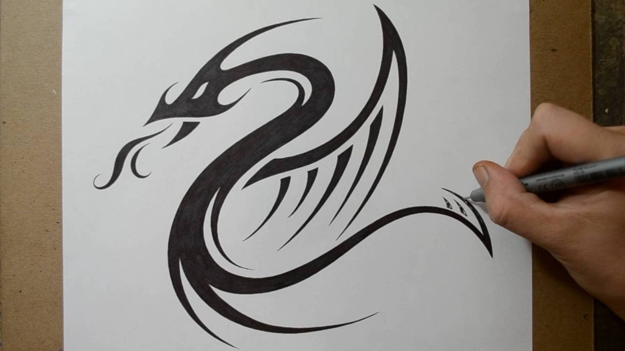 89089bec0 Designing a Tribal Dragon Serpent Tattoo Design - YouTube