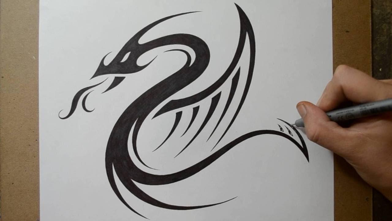 Designing a Tribal Dragon Serpent Tattoo Design YouTube
