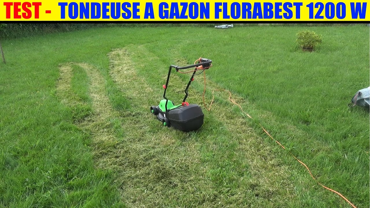 lidl tondeuse gazon test florabest frm 1200 lawnmower elektro rasenm her youtube. Black Bedroom Furniture Sets. Home Design Ideas